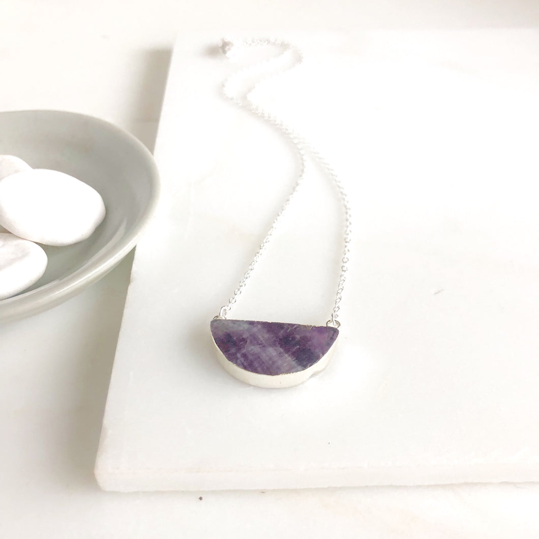 Amethyst Crescent Moon Necklace. Purple Stone Moon Pendant Necklace.