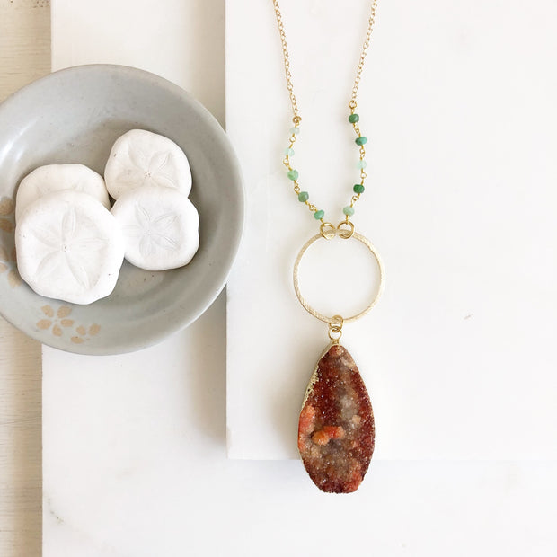 Long Orange Teardrop Druzy and Circle Pendant with Green Gemstone Stone Beaded Chain in Gold