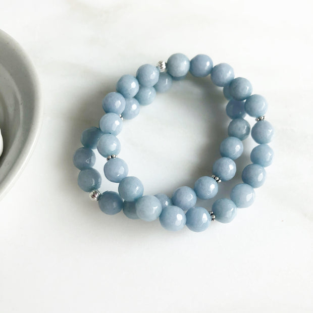Set of Two Blue Jade Beaded Stretchy Bracelets in Silver
