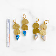 Colorful Mojave Stone Triangle and Brushed Gold Dangle Earrings. Geometric Earrings