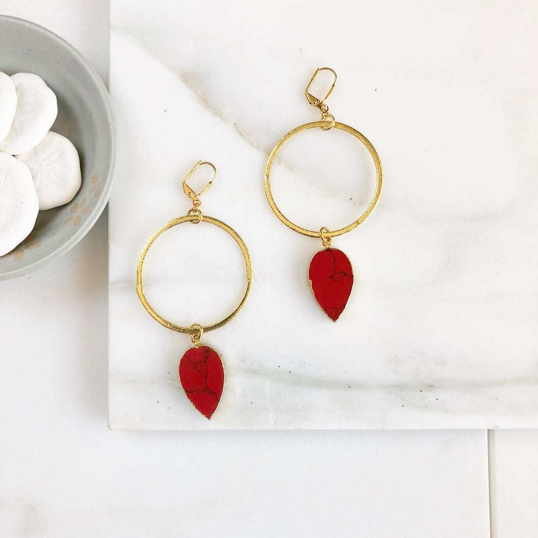 Statement Earrings with Red Sediment Jasper and Gold Hoops. Super Big Long Stone Earrings. Gold Statement Earrings. Jewelry Gift.