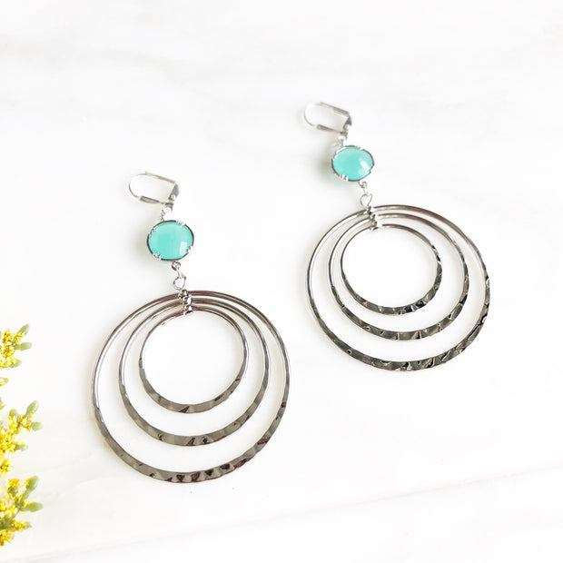 Silver Statement Hoop Earrings with Aqua Blue Stones
