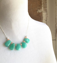 Load image into Gallery viewer, Teal Bib Necklace. Statement Jewelry. Bib Statement Necklace. Peach Aqua. Gift. Modern Jewelry. Teal Statement Jewelry. Fashion.
