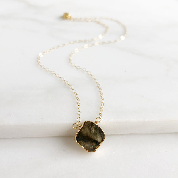 Labradorite Gemstone Slice Necklace. Diamond Shaped Labradorite Dainty Gemstone Layering Necklace.