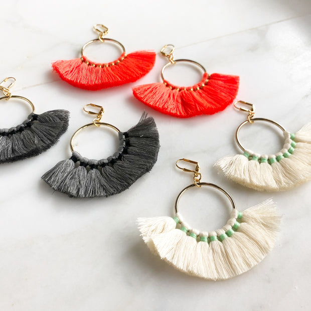 Fan Tassel Earrings. Tassel Earrings. Chandelier Earrings. Statement Earrings. Jewelry. Gift.