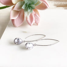 Load image into Gallery viewer, Silver and Cubic Zirconia Stone Drop Earrings. Bridesmaid Gift. Silver Bridal Drop Earrings.