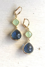Load image into Gallery viewer, Blue and Mint Drop Earrings in Gold. Sapphire Bridesmaid Dangle Earrings. Drop. Bridesmaids. Wedding Jewelry. Bridal Jewelry. Gift.