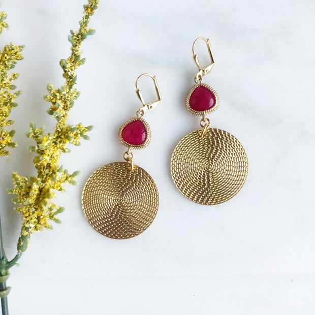 Gold Circle and Fuchsia Stone Chandelier Earrings. Gold Stone Dangle Fun Big Earrings. Jewelry Gift