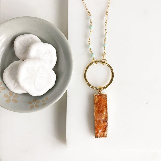 Long Orange Druzy Rectangle Necklace with Amazonite Beading. Long Druzy Necklace. Long Boho Necklace