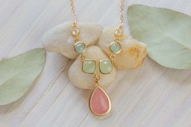 Unique Jewel Pendant Statement Necklace with Shades of Coral Pink, Mint and Aqua in Gold. Unique Fashion Necklace. Bridal Jewel Necklace.