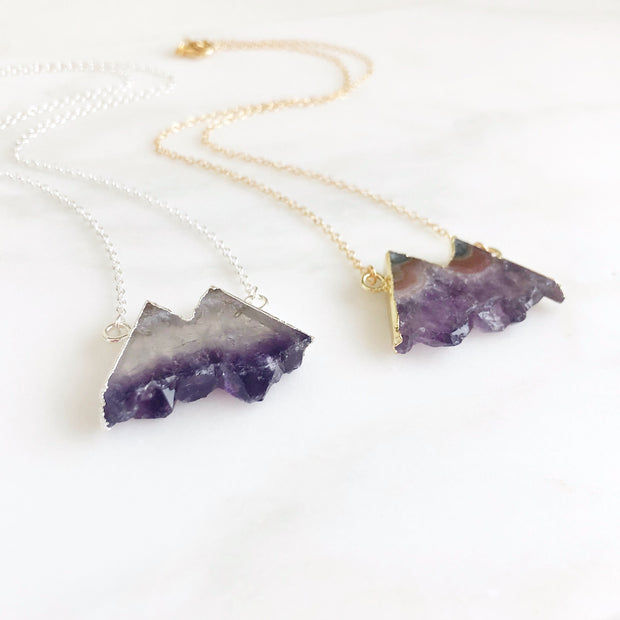 Raw Amethyst Geode Necklace. Mountain Shaped Stone Necklace in Silver or Gold