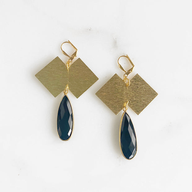 Black Onyx Teardrop Statement Earrings in Gold. Black Gold Geometric Earrings