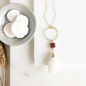 Long Crystal Necklace with Wine Red Druzy and Circle Pendant. Long Crystal Healing Necklace.