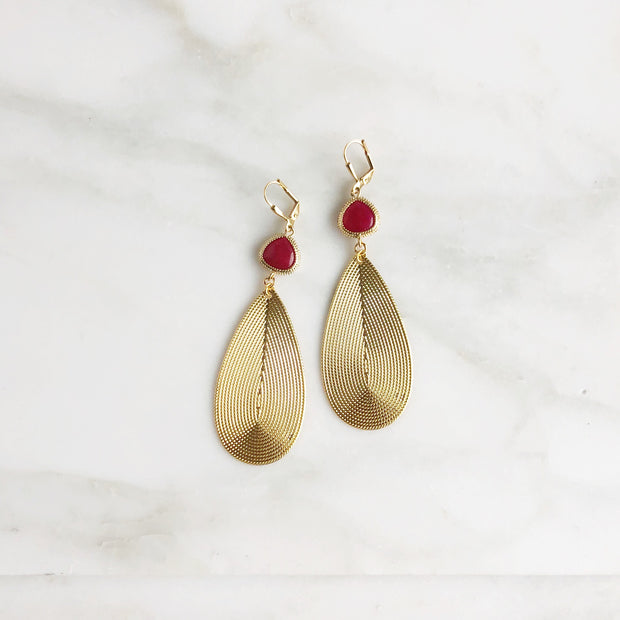 Big Gold Teardrop Earrings with Fuchsia Stones. Gold Statement Earrings
