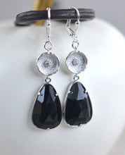 Load image into Gallery viewer, SALE - Black Stone Dangle Earrings in Silver. Black Drop Earrings. Black Silver Drop Earrings. Gift. Jewelry.