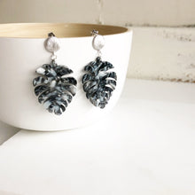 Load image into Gallery viewer, Statement Earrings. Black Leaf Acrylic Earrings. Silver Post Earrings. Dangle Earrings. Earrings.