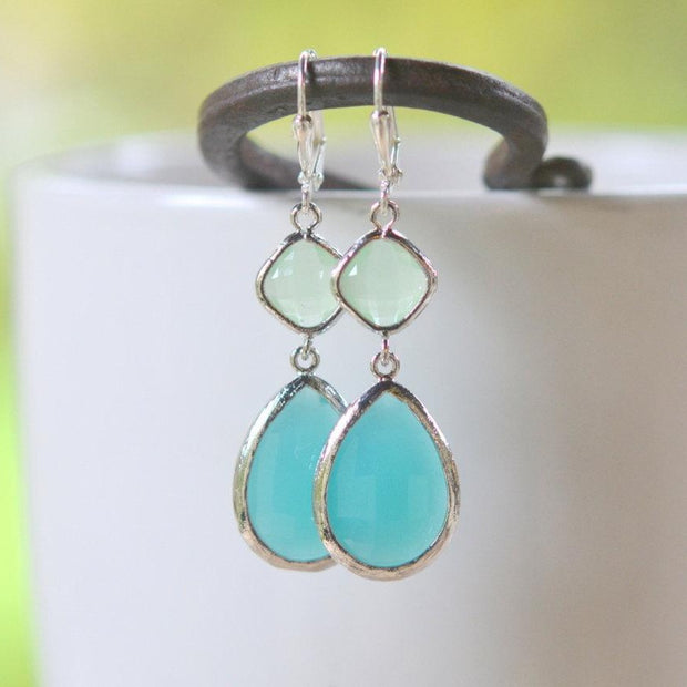 Large Turquoise Teardrop and Mint Diamond Dangle Bridesmaid Earrings in Silver. Glass Drop Earrings