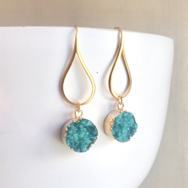 Druzy Drop Earrings. Dangle Duzy Earrings