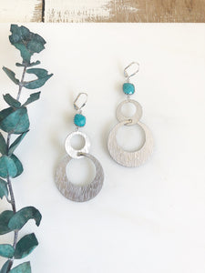 Silver Statement Earrings. Turquoise Stone and Silver Hoop Earrings. Fun Earrings. Big Earrings.