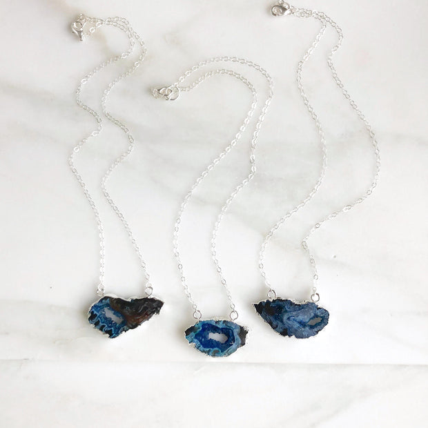 Blue Geode Slice Necklaces in Sterling Silver. Raw Stone Necklace