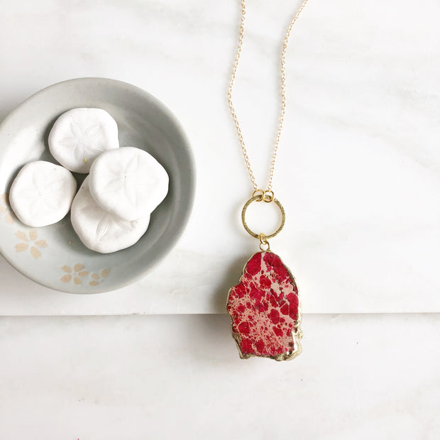 Long Red Stone Pendant Necklace in Gold
