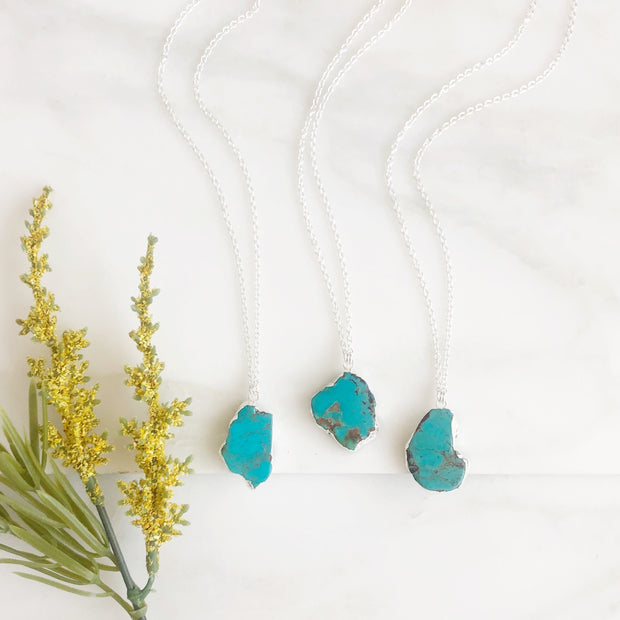 Turquoise Stone Pendant Necklace in Sterling Silver. Freeform Turquoise Necklace