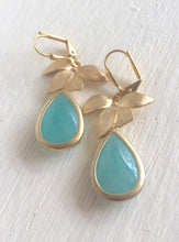 Load image into Gallery viewer, Aqua Teardrop and Gold Orchid Dangle Drop Earrings. Aqua Dangle Bridesmaid Earrings. Jewelry Gift for Her. Christmas Gift. Holiday Gift.