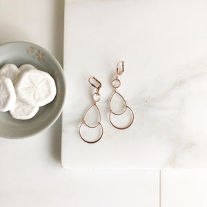 Long Rose Gold Earrings with Clear Stones. Eose Gold Earrings.