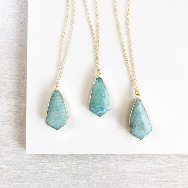 Amazonite Shield Necklace. Blue Stone Pendant Necklace