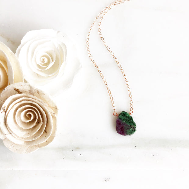 Ruby Zosite Gemstone Slice Pendant Necklace in Rose Gold. Green Stone Necklace. Layering Jewelry.
