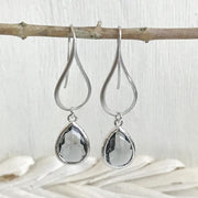 Silver Charcoal Drop Earrings. Charcoal Grey Teardrop Dangle Earrings