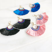 Fan Tassel Earrings - Blue Pink and Black. Statement Dangle Earrings
