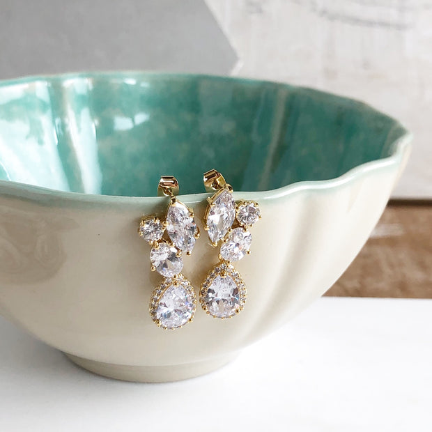 Gold Post Bridal Earrings. Bridesmaid Earrings. CZ Gold Bridal Wedding Earrings