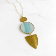 Long Geometric Necklace with Amazonite Circle and Brushed Brass Components