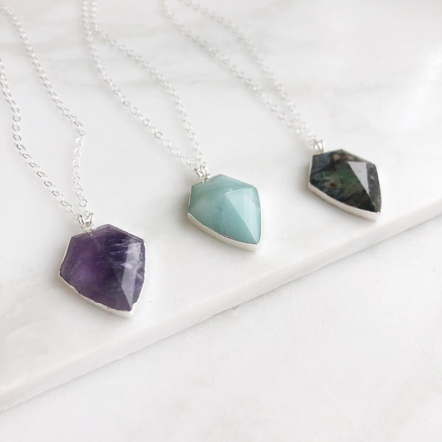 Shield Pendant Necklaces in Silver. Gemstone Shield Silver Necklace