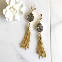 Load image into Gallery viewer, Gold Tassel Earrings. Drop. Dangle. Mother of Pearl Tassel Earrings. Tassel Jewelry. Jewelry Gift. Dangle Earrings. Modern. Gift.