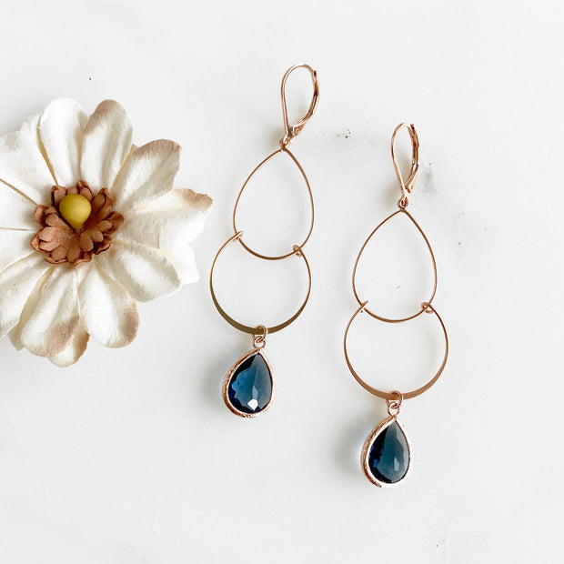 Long Rose Gold Double Hoop Earrings with Sapphire Glass Stones. Rose Gold Dangle Earrings