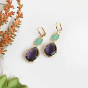 Amethyst Purple and Aqua Glass Stone Drop Earrings. Bridesmaid Gift. Bridal Earrings.