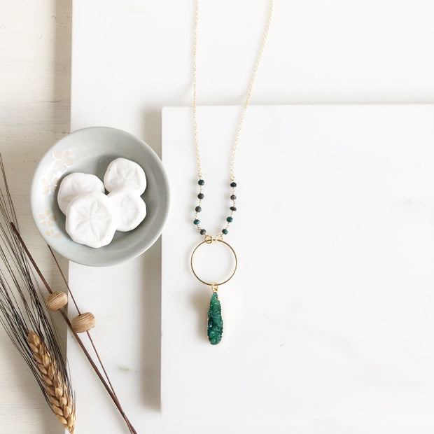 Long Green Druzy Necklace with Turquoise Green Stones. Long Bohemian Necklace (Small Size)