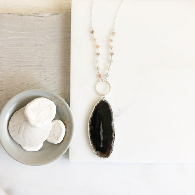 Long Black Druzy Drop Necklace in Silver. Circle Connector. Long Drop Necklace. Jewelry. Gifts for Her. Circle Necklace.