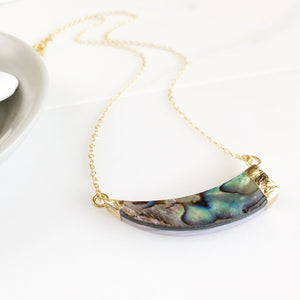 Asymmetrical Abalone Necklace. Abalone Shell Horn Necklace in Gold. Abalone Shell Crescent Necklace. Shell Pendant Necklace. Jewelry Gift.