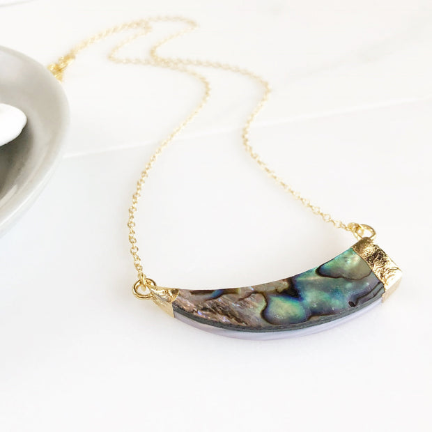 Asymmetrical Abalone Necklace. Abalone Shell Horn Necklace in Gold. Abalone Shell Pendant Necklace