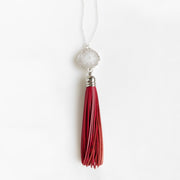 Colorful Tassel Necklace in Silver. Long Boho Leather Tassel Necklace. Statement Jewelry
