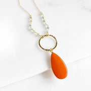 Orange Howlite Drop Necklace with Amazonite Beading in Gold.