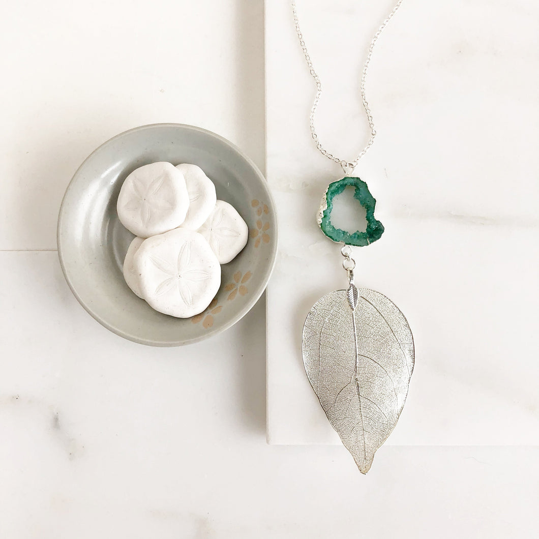 Long Silver Leaf and Emerald Green Druzy Necklace. Pendant Necklace. Druzy Necklace. Boho Necklace. Jewelry. Gift.