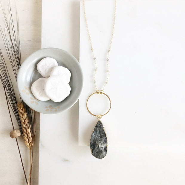 Long Grey Druzy Teardrop and Circle Necklace with Grey Beaded Chain in Gold