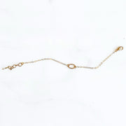 Textured Oval Bracelet in Gold. Simple Dainty Charm Bracelet