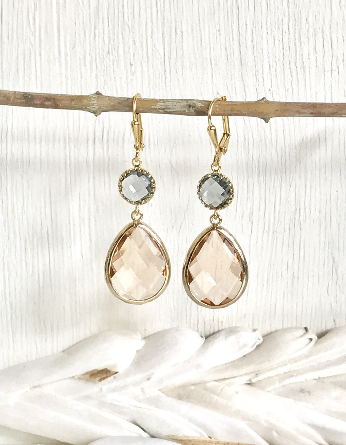 Wedding Bridesmaid Earrings. Bridesmaid Gift. Wedding Jewelry. Bridal Champagne Charcoal Dangle Earrings. Bridesmaid Earrings Jewelry Gold.