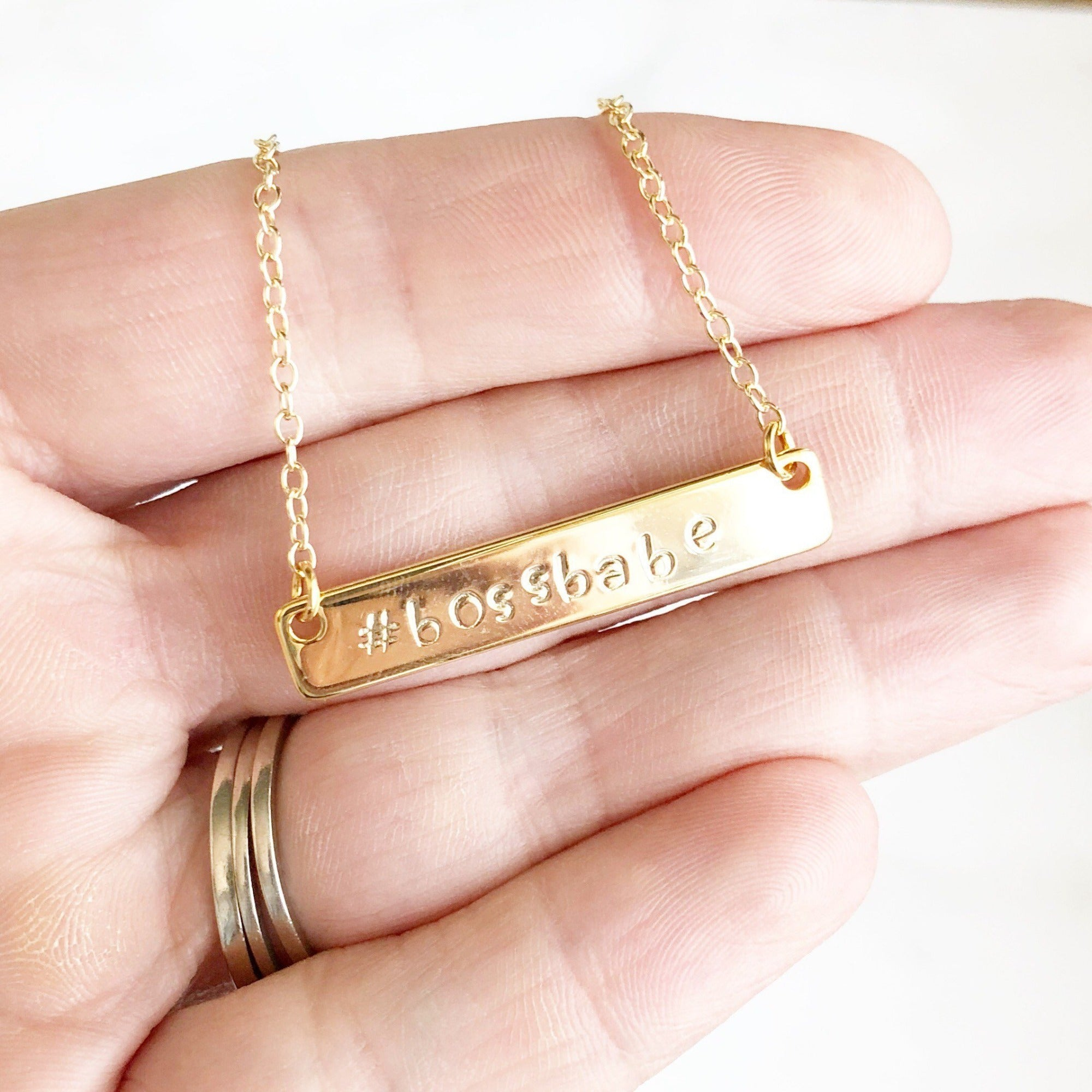 "Bossbabe Necklace. Bar Necklace. Hand Stamped Bar Necklace. Jewlery Gift. Silver or Gold Bar Necklace. Boss Babe Necklace. 17"" Length"