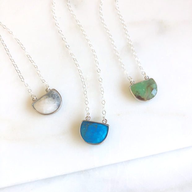 Half Moon Gemstone Necklace in Sterling Silver